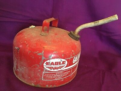 Eagle Galvanized Oil Gas Can 2 1/2 gal Vintage Red Flexible Spout Vintage