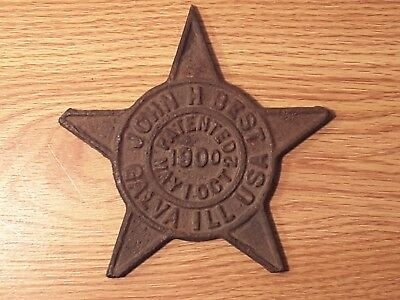 Rare John H. Best 1900 Cast Iron Star for Buggy Whip Holder