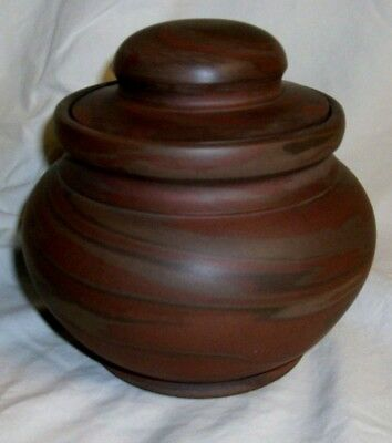 """NILOAK 5 1/2"""" Covered Jar/Humidor in Brown & Red Tones Signed W/ First Art Mark"""