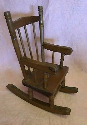 Wood Wooden Doll Rocking Arm Chair Brown Spindles  11 in high 9 in wide Toy Vtg