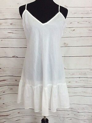 Free People White Lingerie Slip Dress Undergarment Size 12 100% cotton Nightgown