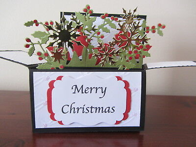 Handmade  3D  Christmas  Card in a box- Holly, PERSONALISED