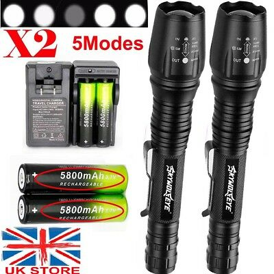 2Sets 90000LM T6 LED Flashlight Rechargeable Zoom Torch+18650 Battery+Charger UK