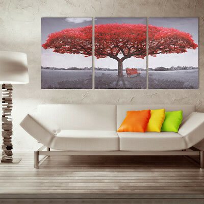 3Pcs Large Red Tree Canvas Print Art Painting Picture Modern Home Decor Unframed