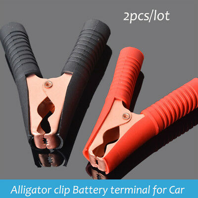 2pcs Car Vehicle Battery Charger Crocodile Alligator Booster Clip Clamp Testing