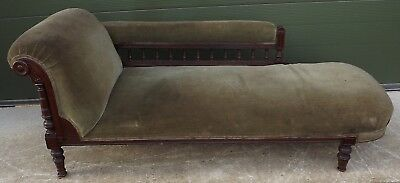 Antique Victorian Mahogany-Framed Upholstered Chaise Longue - Needs Reupholstery