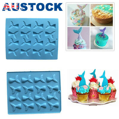 Mermaid Tail Silicone Cake Mold Jelly Cookies Chocolate Baking Mould Ice Cube AU