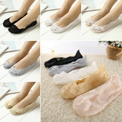 New Women Invisible No Show Nonslip Loafer Lace Boat Liner Low Cut Cotton Socks