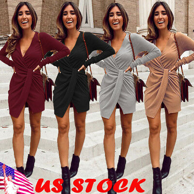Winter Women Solid V-Neck Sweater Long Shirt Casual Long Sleeve Pullover Dress