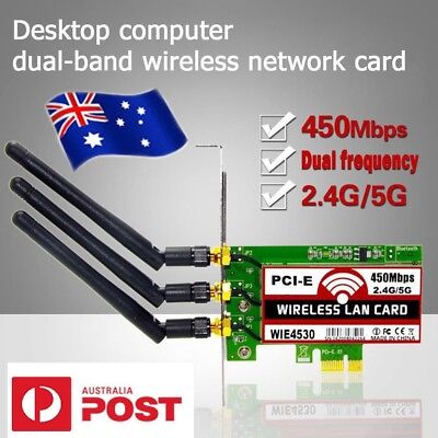 450Mbps 2.4G/5G WiFi Wireless LAN Card PCI-E X1 Network Adapter for Desktop