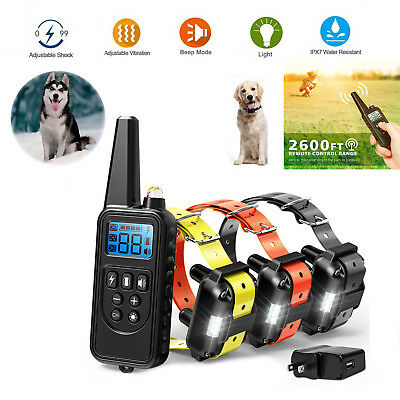 Dog Shock Collar Rechargeable Waterproof Remote Training Electric Pet 1/2/3 Dogs