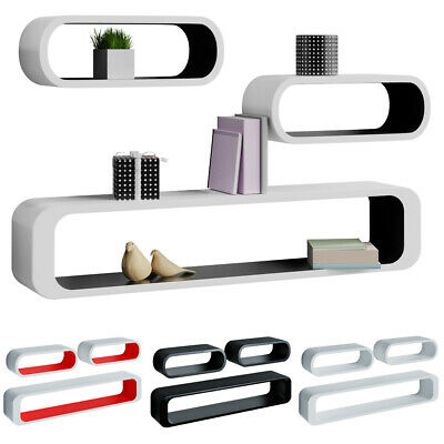 Set of 3 Cube Floating Wall Mount Shelves MDF Glazing 3 Colours Retro High Gloss
