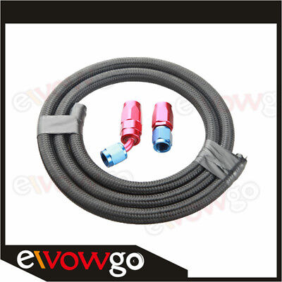 -10 AN10 NYLON cover braided Oil Fuel Gas Line Hose 1M + Swivel Hose End Fitting