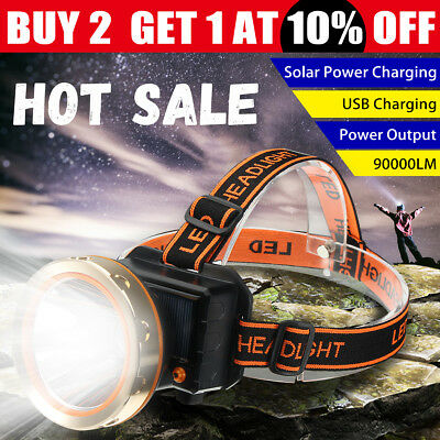 90000LM LED Rechargeable Headlight Head Lamp Torch Camping Outdoor Flashlight