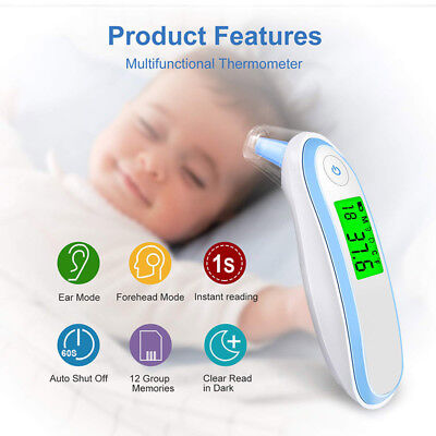 Forehead Ear Medical Thermometer Dual Mode Infrared Thermometer for Baby Infants