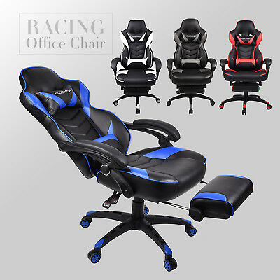 Computer Gaming Executive Chair Office PU Leather Recliner Swivel Sport Footrest