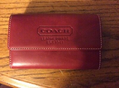 Authentic Vintage Coach Leather Wallet Coin Purse Key Chain Loop Cordovan NIB