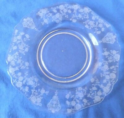 """Cambridge ' Rose Point' Bread & Butter Plate,"""" 6 1/4"""" #3400  - Clear - 1934-1958"""