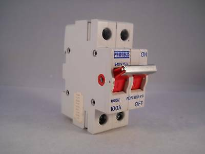 Proteus 100 Amp Main Switch Disconnector 100A Double Pole Isolator 100S2