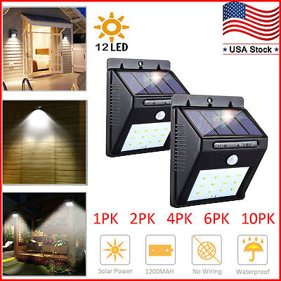 Outdoor Solar Lights Motion Sensor Wall Light Waterproof Garden Yard Lamp 12 LED