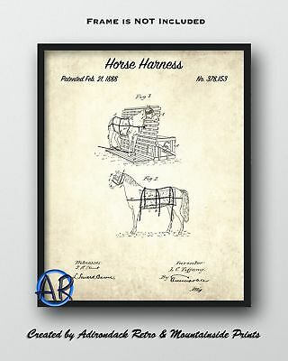 1888 Horse Harness Framed Patent Print