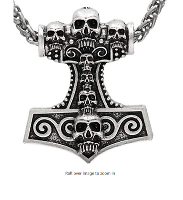Viking Thor`s Hammer Hand Carved 7 Skull Head Pendant Antique Silver Metal Chain