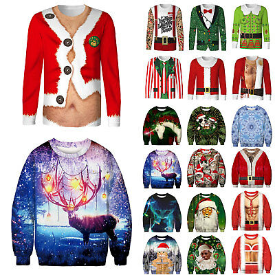Ugly Christmas Sweater Women Men Xmas Jumper Sweatshirt Pullover Tops T-shirt AU