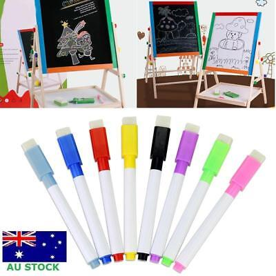 8 Colour Set Kids Whiteboard Marker Non Toxic Dry Erase Easy Wipe Bullet Tip Pen