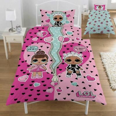 LOL Surprise Single Bedding Duvet Set Bedroom Reversible Kids Childrens