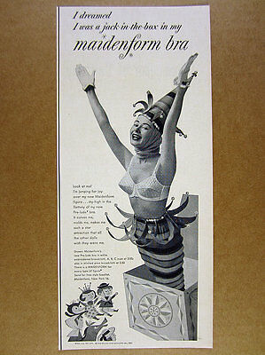 1954 Maidenform Bra I dreamed I was a Jack-in-the-box photo vintage print Ad