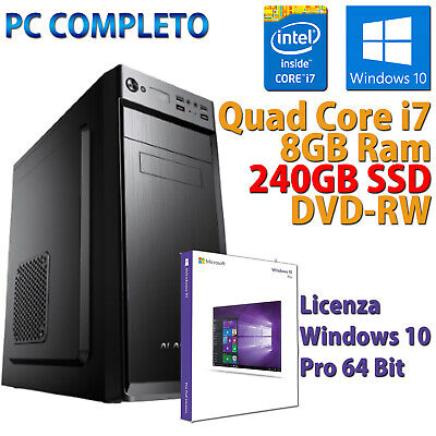 PC FISSO COMPUTER DESKTOP NUOVO ASSEMBLATO QUAD CORE i7 8GB SSD 240GB WINDOWS 10