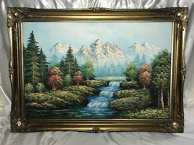 Large Victorian Style Oil Painting Swiss Alps River Lutschine Rapids Mountains