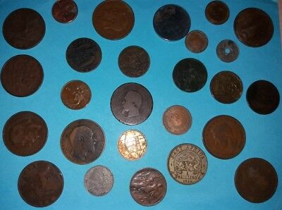 Job Lot Collection Of Mixed World Coins Scrap Metal Detector Findings Vintage