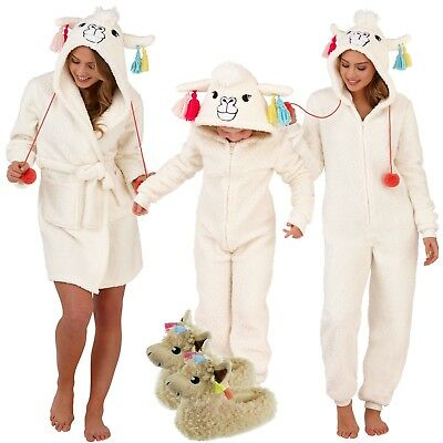 Robe 1Onesie Girls Womens Llama Hooded Matching Mother & Daughter Loungewear