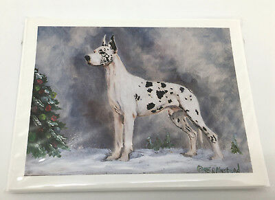 NEW Christmas Holiday Harlequin Great Dane Gentle Giant Dog Note Cards Set Of 8
