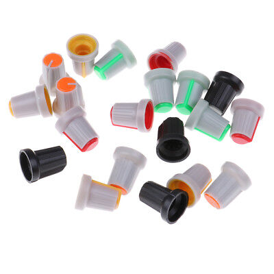 20Pcs 6mm Shaft Hole Dia Knurled Grip Potentiometer Pot Knobs Cap color randomME