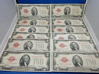 Lot of 12 1928 $2 Red Seal US Notes