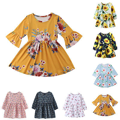 Infant Toddler Baby Kids Girls Dress Long Sleeve Princess Party Pageant Dresses