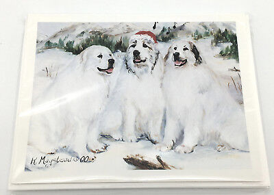 NEW Great Pyrenees Gentle Giant Dogs Christmas Holiday Blank Note Cards Set Of 8