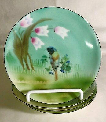 4 E.S. Germany Hand Painted Porcelain Bird Plates