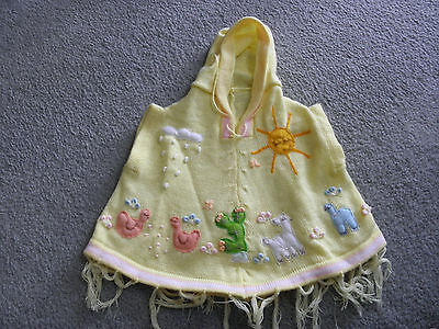 New Made In Peru Arpillera Poncho with Hood Size 12 - 16 Months Yellow #010438