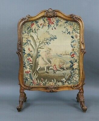 Fine French Early 19th c. Carved Walnut Tapestry Fire Screen