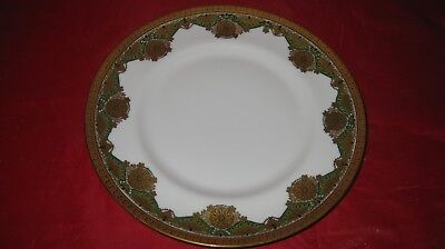 """Limoges  M Redon  9.75"""" DINNER  Plate WHITE GREEN Gold~GORGEOUS 11 AVAI"""