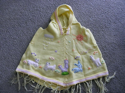 New Made In Peru Arpillera Poncho with Hood Size 12 - 16 Months Yellow #010440