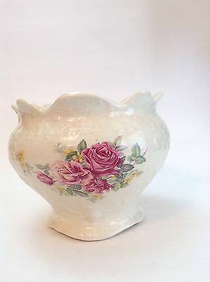 ANTIQUE STAFFORDSHIRE ENGLAND Ironstone Large Bowl Basin Rose Motif Collectable