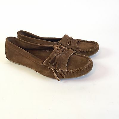 MINNETONKA Women's Size 8 Moccasin Brown Loafer Suede Leather Slip On 8