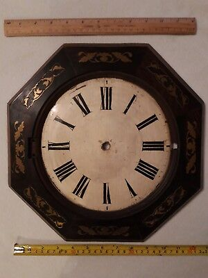 "Antique Wall Clock Face 13"" wide with Brass Inlay, For Spares Or Repair"