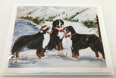 NEW Bernese Mountain Dogs Berners Christmas Holiday Blank Note Cards Set Of 8