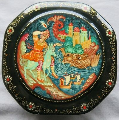 Vintage Russian Palekh Hand Painted Black Lacquered Octagonal Trinket Box Signed