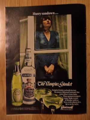 1972 Print Ad Smirnoff Vodka ~ Vampire Gimlet Girl Hurry Sundown